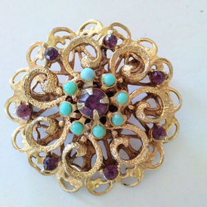 Jewelry - VTG Rhinestone Brooch Purple + Faux Turquoise